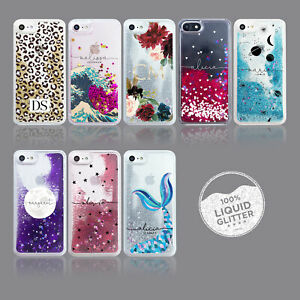 PERSONALISED PHONE CASES LUXURY LIQUID GLITTER PLANET FLORAL HEARTS ANIMAL PRINT
