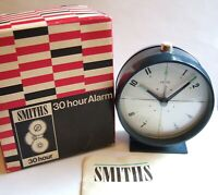 New Old Stock 1973 Smiths 30 Hour Alarm Navy Blue Mechanical Alarm Clock - Boxed