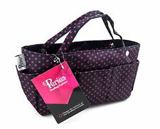 Periea Handbag Organiser, Organizer, Purse Insert - Black With Pink Dots - Tilly