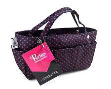 Periea Handbag Organiser, Organizer, Purse Insert - Black With Pink Dots - Tilly