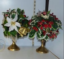 Set of 2 Brass Candle Holders from India w/Artificial Poinsettia Decor
