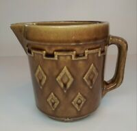 "Vintage 1930's Brown Glazed Stoneware 5"" Batter Pitcher w/Diamond Design.  NICE"