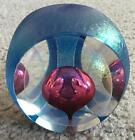 1988 Tom Philabaum Iridescent Glass Paperweight Controlled Tear Drop Bubble