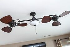 Double Ceiling Fan Oil Rubbed Bronze Indoor Outdoor Light Kit Downrod Blades