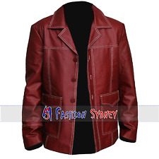 Men's Brad Pitt Fight Club High Quality Synthetic Leather Coat all Sizes