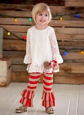 New Girls Boutique Peaches n Cream sz 6 Ivory Red Lace outfit Christmas Holiday