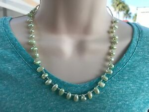 Handmade Necklace of Pale Green Top Drilled Freshwater Pearls with Silver Glass