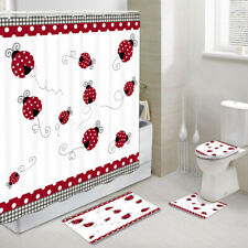 Love ladybug Shower Curtain Toilet Cover Rugs Bath Mat Contour Rug Set