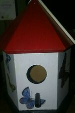 Hand-painted Wooden Birdhouse with Butterfly Outdoor Garden Decor. See pictures.