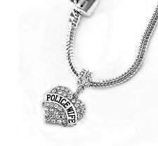 Police wife necklace police necklace Police jewelry Cops wife necklace Pendent E