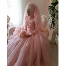 Pearl High Neck Long Sleeve Pink Ball Gown Muslim Wedding Dress Custom Size 4-26