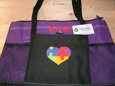 Autism Puzzle Piece Heart Personalized Tote Bag  Puzzle Piece Autism Awareness