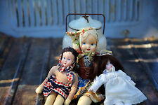 Lot of 3 Beautiful Vintage Folk Dolls with Hand Painted Faces