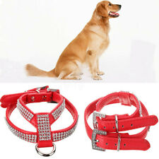 Soft Adjustable Leather Rhinestone Diamante Pet Dog Harness Puppy Pet Dog    D3