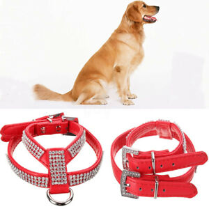 Soft Adjustable Leather Rhinestone Diamante Pet  Harness Puppy Pet     L9