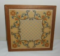 """CREATIONS by DEEDE Gig Harbor, WA 9.25""""square Wood & Tile TRIVET - MADE IN ITALY"""