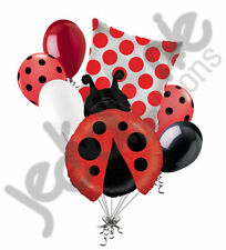 7 pc Red Little Lady Bug Balloon Bouquet Party Decoration Birthday Baby Shower
