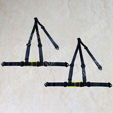 Sundely Hi-Q Pair Black 3 Point Racing Rally Race Harness With Anchor Plates