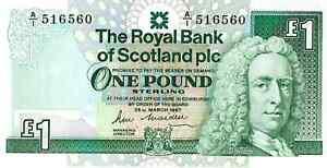 ROYAL BANK OF SCOTLAND BANKNOTE 1 P346 1987 UNC - SERIES A/1