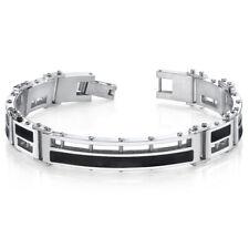 Mens Black Enamel Stylish Stainless Steel Bracelet