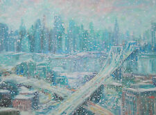 """Listed Artist 18""""X24"""" Original Stunning Oil NY USA Cityscape Sargent Interest"""