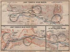 ST GOTTHARD RAILWAY SPIRAL/LOOP TUNNELS Wassen Freggio Prato Biaschina 1893 map