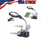 LED Helping Hand Clamp Magnifying Glass Soldering Iron Stand Len Magnifier 3.5X