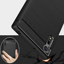 For Sony Xperia XA3 XZ4 XZ Shockproof Armor Carbon Fiber Hybrid Brush Case Cover