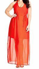 City Chic Bright Party Maxi Dress Orange 20