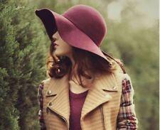 1 PC Women's Vintage French Style Wide Brim Wool Hat Lady's Felt Floppy Sun Hat