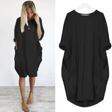Women Pocket Summer Loose Dress Ladies Round Neck Casual Baggy Long Tops Dress