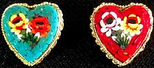Italy Micromosaic Pins Brooches Vintage Heart-Shaped Floral - Lot of 2