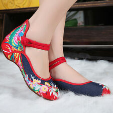 HK- Chinese Embroidered Hibiscus Flowers Cloth Shoes Women Casual Flat Loafer Pu