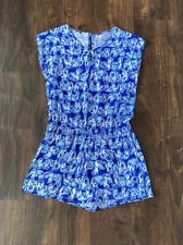 Lilly Pulitzer Pacey Romper Elephant Print Blue XL 12-14
