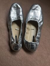 ZARA Basic Silver Leather Ballerina Flats - Foldable