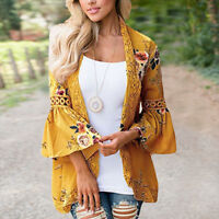 Outwear Women Long Sleeve Coat Cardigan Loose Jacket Lace Tops Blouse Top