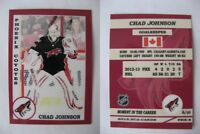 2015 SCA Chad Johnson Phoenix Coyotes goalie never issued produced #d/10