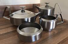 More details for vintage robert welch old hall alveston 4 piece tea set stainless steel modernist