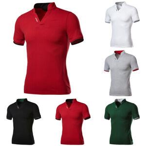 Mens Polo Dress Shirts Summer Short Sleeve T-Shirt Golf Casual Slim Fit Tops Tee