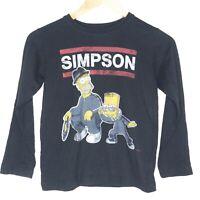 Simpsons Homer & Bart Run DMC Parody Womens L/S T-Shirt Size 8 Black