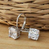 Solid 925 Sterling Silver Princess Cut Square Cubic Zirconia Hoop Earrings