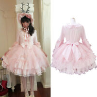 Lolita Princess Dress Retro Lace Skirt Pink 3/4 Sleeve Wedding Bridesmaid Dress