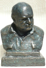 Winston Churchill in his Siren Suit signed Oscar Nemon   Bronze Resin Bust