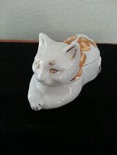 Elizabeth Arden Porcelain Gold Ribbon Cat Shape Candle Holder/ Trinket Box