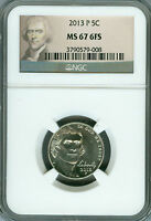 2013-P JEFFERSON NICKEL NGC MS67 6FS FINEST REGISTRY .