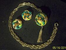Vintage Gold Tn Green/Yellow Enamel/Rhinestone Tassel Pendant Necklace Earrings