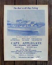 Old Original Unused 1960's Vintage Marina Off Shore Fishing Boat Poster Sign Ad
