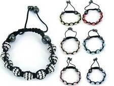 Shamballa bracelet striped clay crystal disco ball macrame sparkling bead stripe