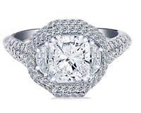 3.36 Carat Double Halo Radiant Diamond Engagement Ring 18k White Gold G/H-VS1