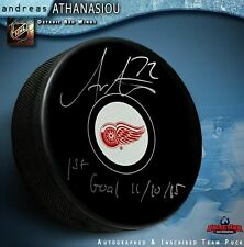 """ANDREAS ATHANASIOU Signed Detroit Red Wings Puck Inscribed """"1st Goal 11/10/15"""""""